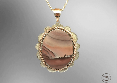 Jasper in Silver & Copper Pendant