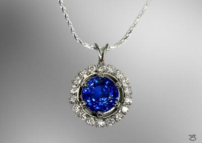 Custom Sapphire & Diamond Necklace