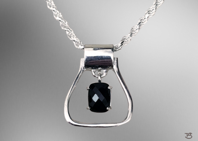 Stirrup Necklace with Black Onyx Stone