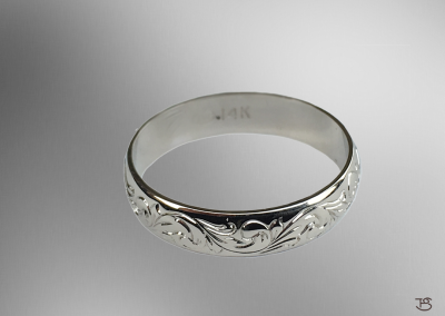 White Gold Ring with Scrollwork